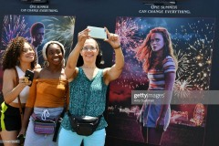 "SANTA MONICA, CALIFORNIA - JUNE 29: Fans pose at the many photo-op stations at the Netflix's ""Stranger Things"" Season 3 Fun Fair at Santa Monica Pier on June 29, 2019 in Santa Monica, California. (Photo by Amy Sussman/Getty Images)"