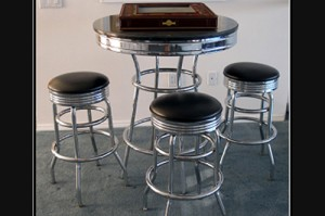 50s cocktail table and stools los angeles partyworks for Cocktail tables rental los angeles