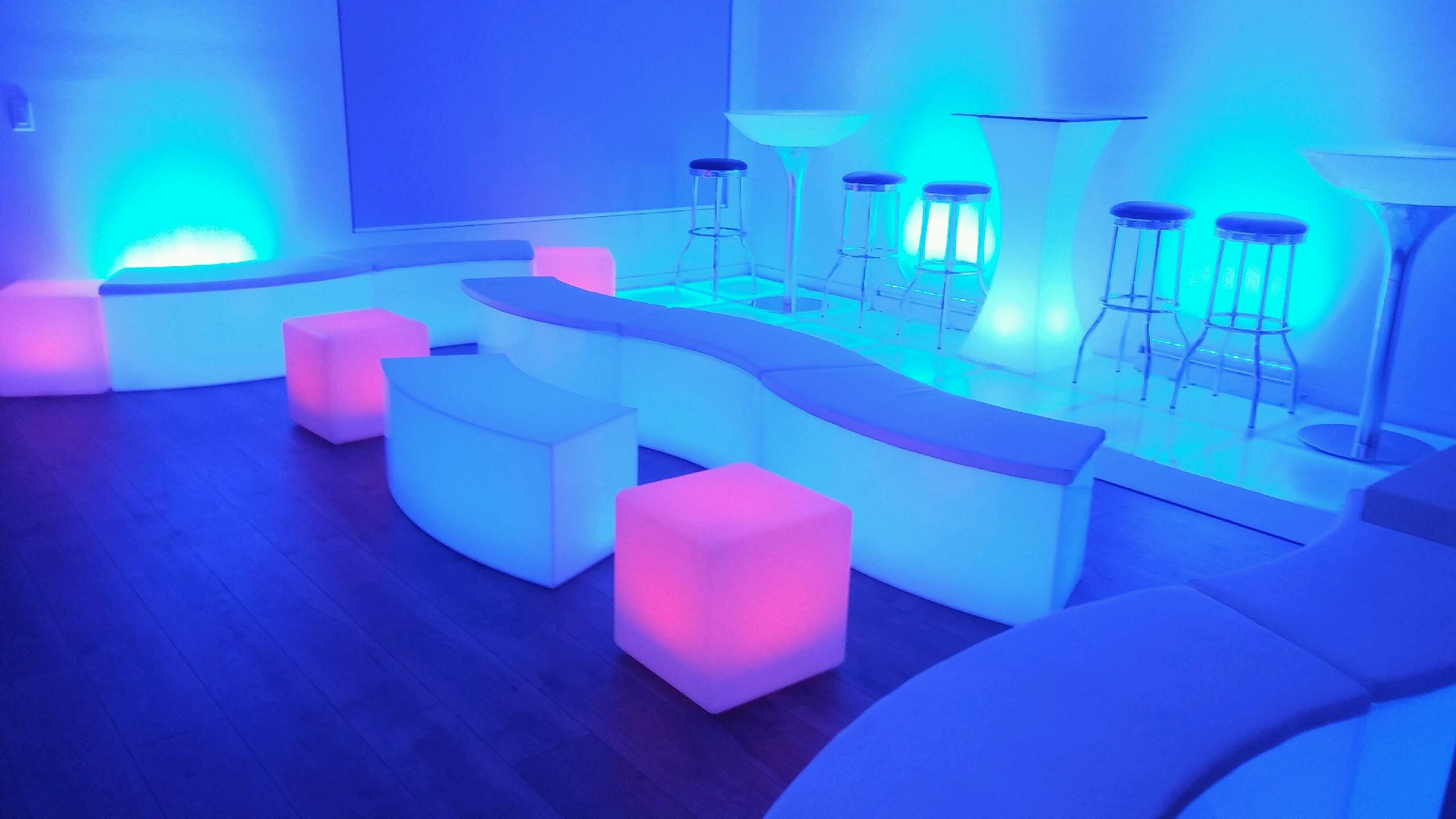 LED Curved Bench Coffee Table Los Angeles PartyWorks Inc