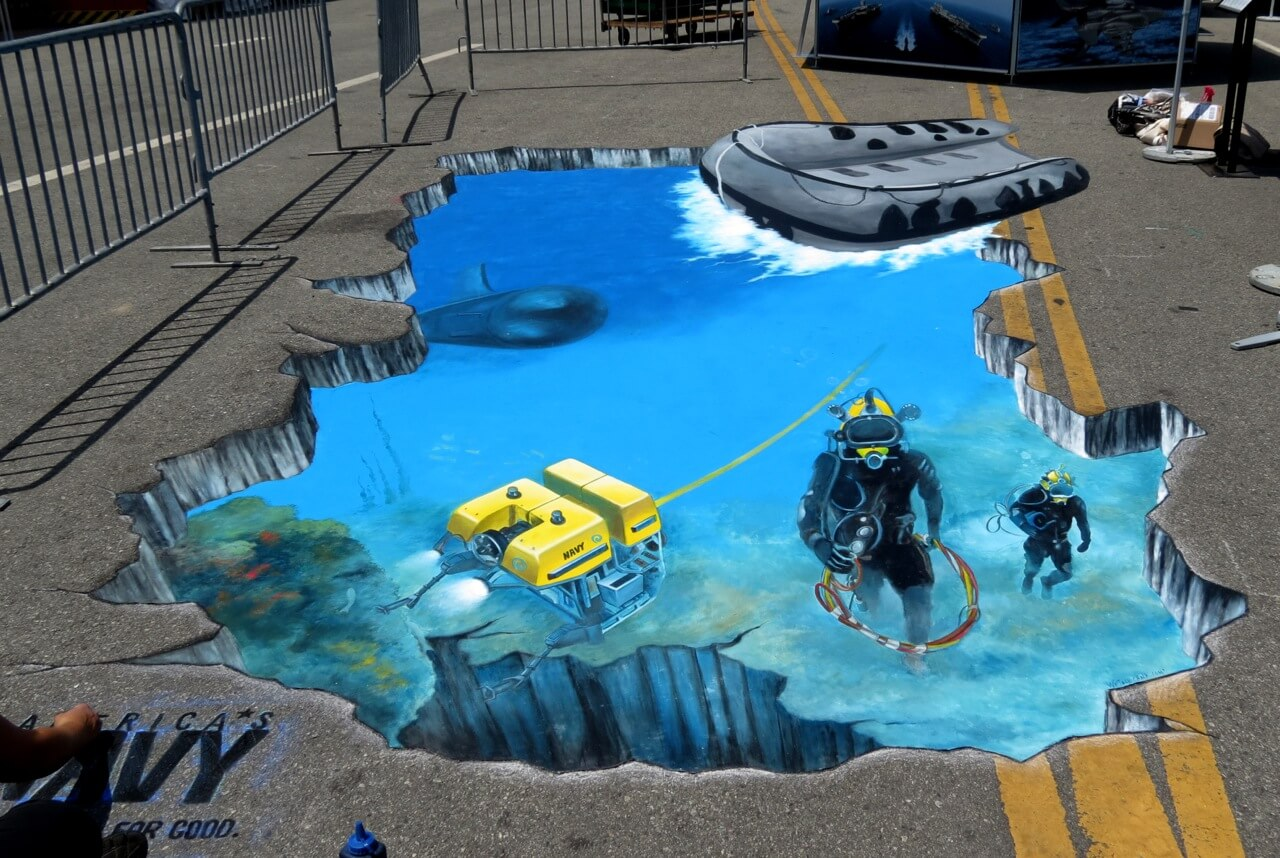 3d street painting los angeles partyworks inc for 3d street painting mural art